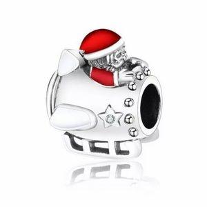 NEW•Silver 925 Santa & Rocket Sled DIY charm